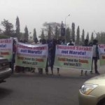 See What Protesters Did To Saraki In Abuja (Photo Here)
