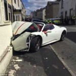 Unlucky wedding couple crash £240,000 Ferrari Spider they hired to celebrate big day