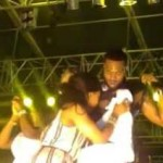 Check Out How An Over-Excited Female Fan Of D'banj Was Licking His Chest (See Photos)