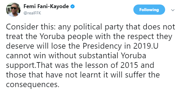 """Any Party That Doesn't Respect The Yoruba People Will Lose The Presidency"" – FFK"