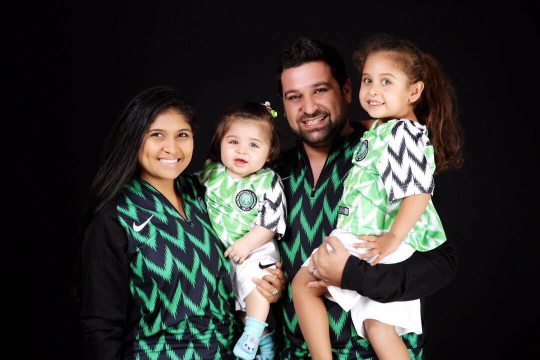 7d48b9fff Oyinbo Nigerian And Family Rock 2018 Super Eagles World Cup Jersey ...