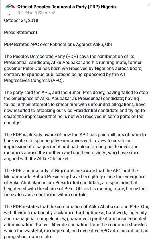 PDP Berates APC Over 'Fabrications' Against Atiku, Obi