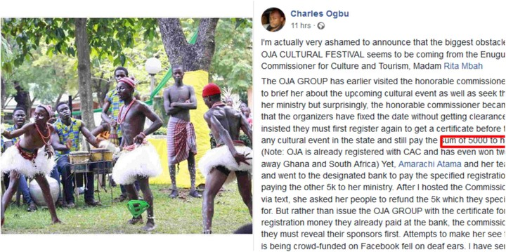 Enugu Commissioner Accused Of Requesting N5,000 For Oja Cultural Festival To Hold