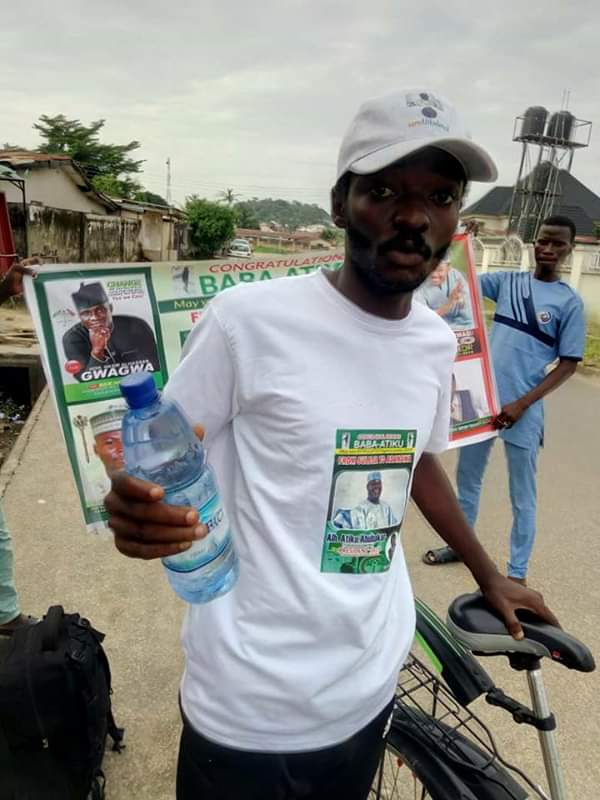 2019: Another Man Rides Bicycle From Niger To Adamawa State To Support Atiku (Photos)