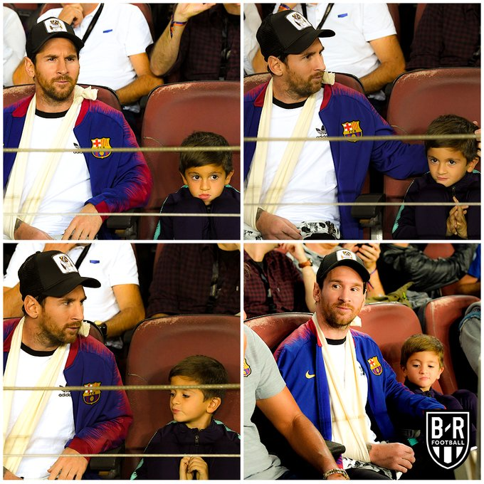 Injured Messi Spotted Watching Barcelona Game With His 1st Son