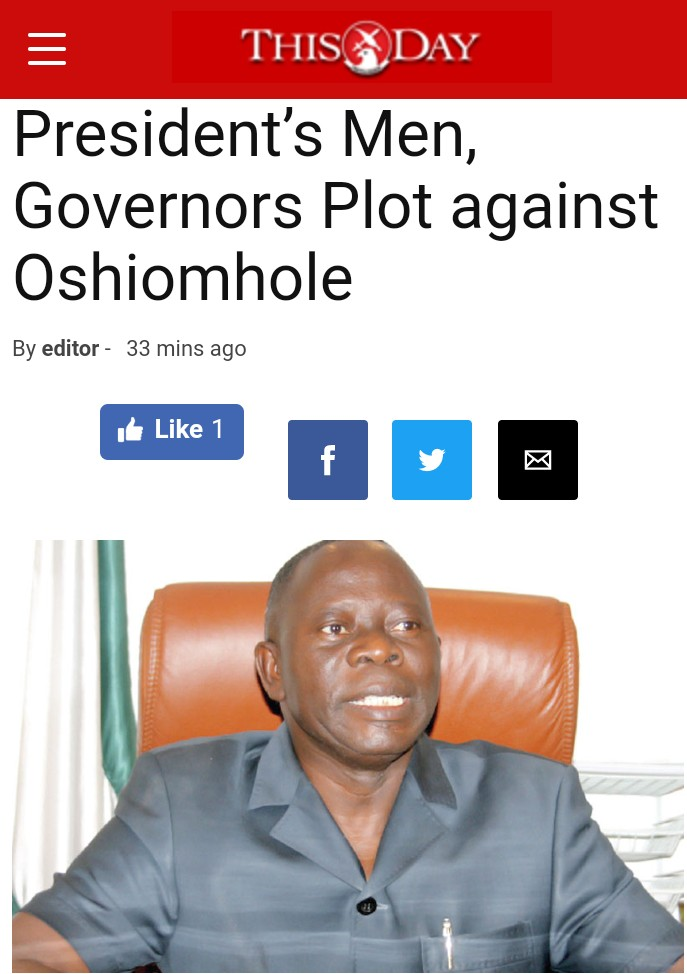 """President's Men, Governors Plot Against Oshiomhole"" – This Day"