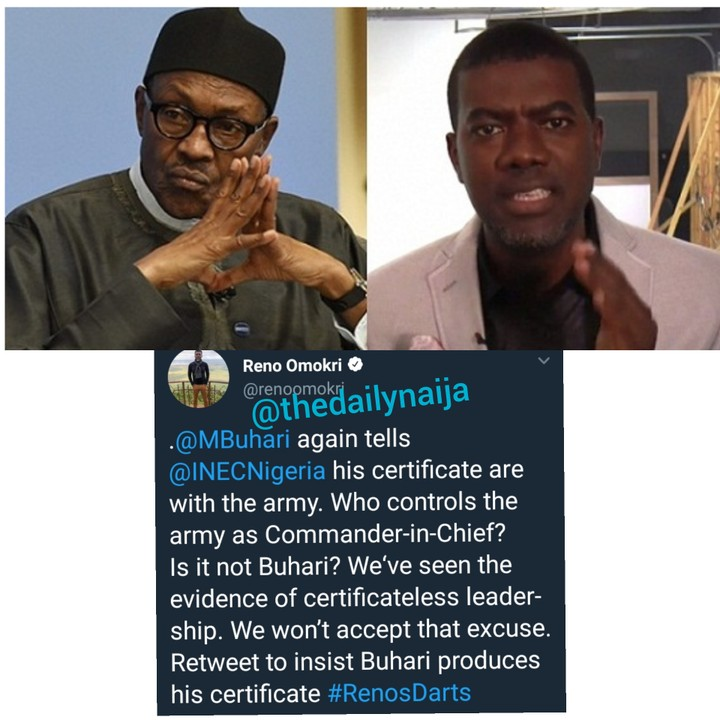 Reno Omokri Reacts To Buhari's 'My Credentials Still With Military'
