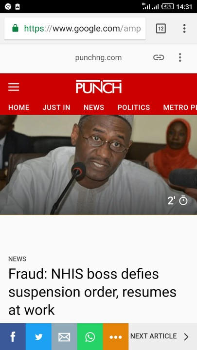 'Only Buhari Can Sack Me' – NHIS Boss Defies Governing Council, Resumes Work