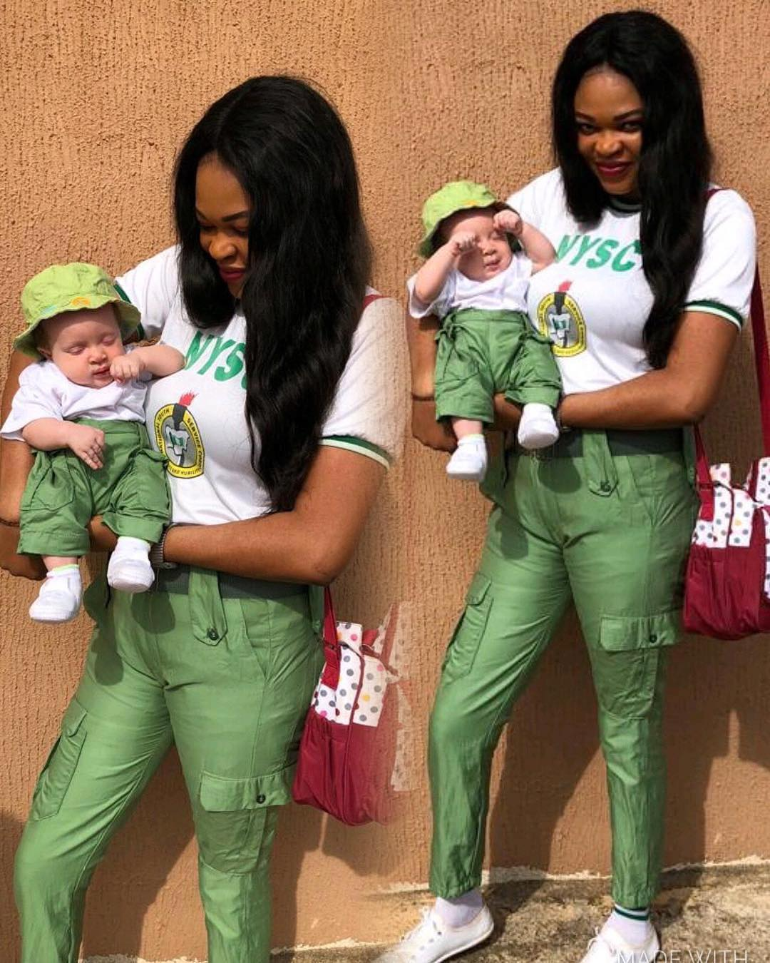 Beautiful Mum And Her Son In Adorable NYSC Khaki Outfit (Photos)