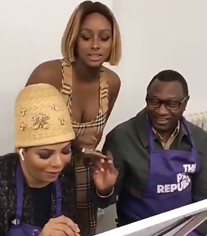 Gist :- Adorable Photos Of Femi Otedola And Wife Nana Drawing Daughter DJ Cuppy On Her Birthday