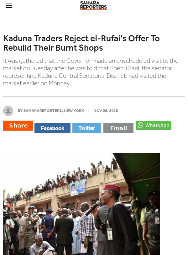 Kaduna Traders Reject El-Rufai's Offer To Rebuild Their Burnt Shops