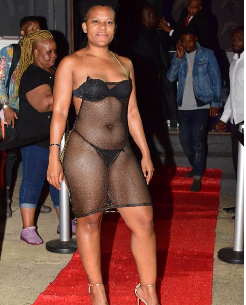 See How South African 'Pantless' Dancer, Zodwa Wabantu Stormed The Red Carpet Of An Event (Photos)