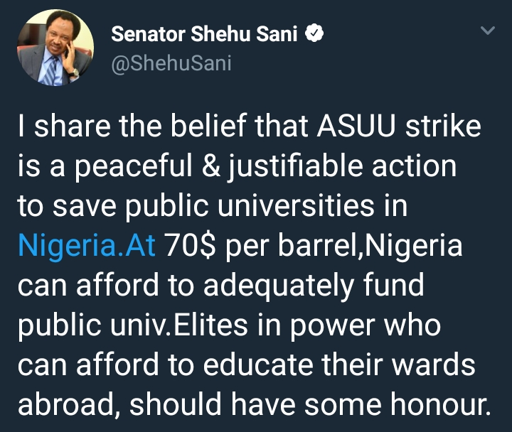 Senator Shehu Sani Reacts To ASUU Indefinite Strike