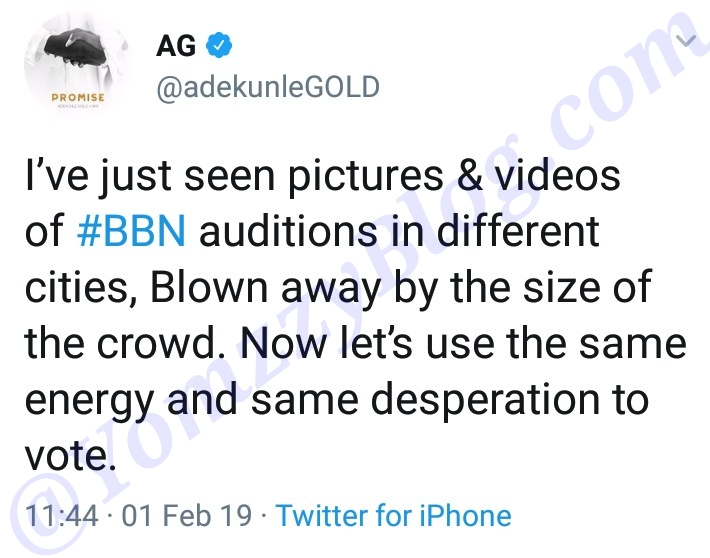 #ViralNow: 'Use The Same Energy To Vote': Adekunle Gold Reacts To Crowd At BBNaija Audition 3