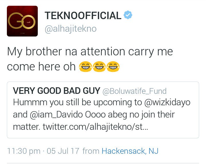 "Attention Has Fallen On Me"":- Tekno Tweets After Wizkid Shaded Him"