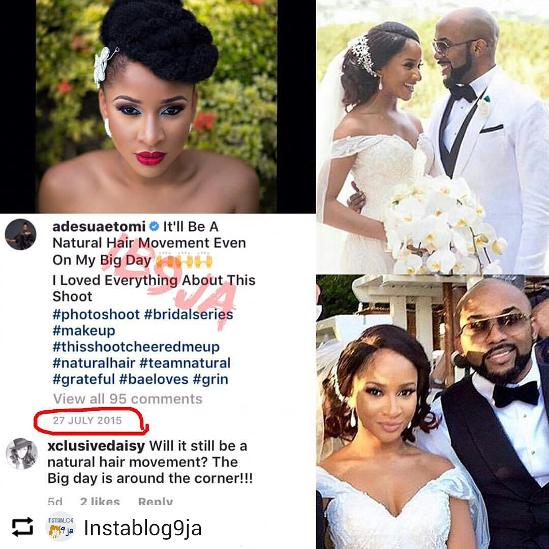 Fans Remind Adesua Of Her 2015 Promise To Go Natural On Her Wedding ...