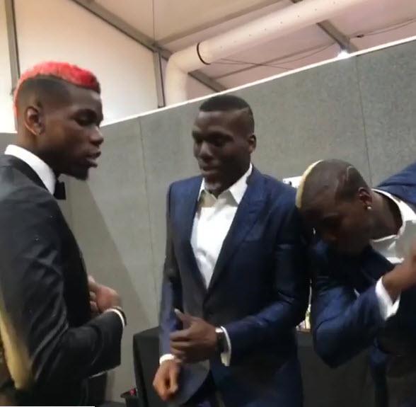 Paul Pogba & His Lookalike Twin Brothers Dance At MTV EMA (Photos