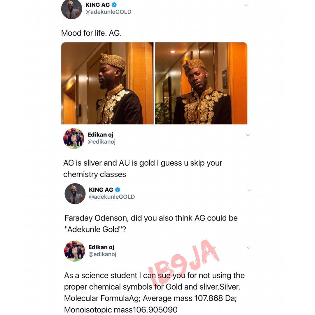 Adekunlegold To Be Sued For Using Wrong Chemical Symbols For Gold