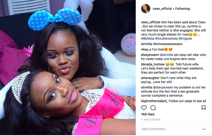 BBNaija 2018:- Cee C Is Not Married – Cee-C's Team