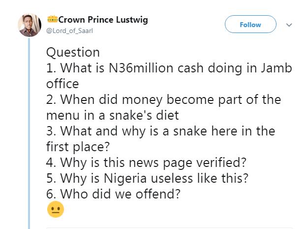 snake in jamb office