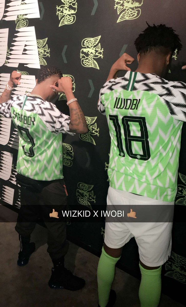 Wizkid And Iwobi Pictured with  New Super Eagles's Jersey (Photos)