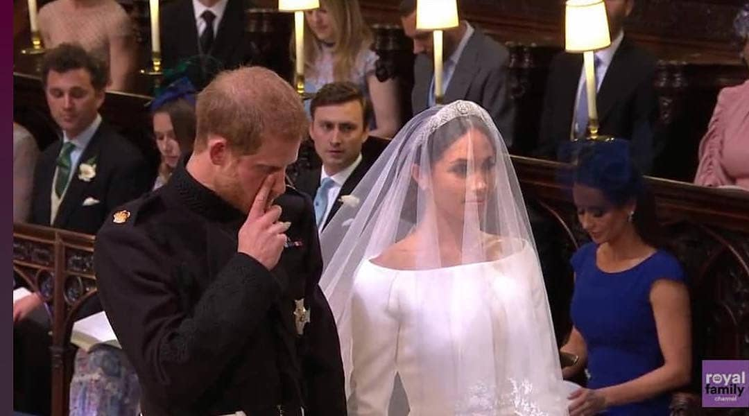 Royalwedding:- Prince Harry Pictured Wiping Off A Tear During His Church Wedding To Megan