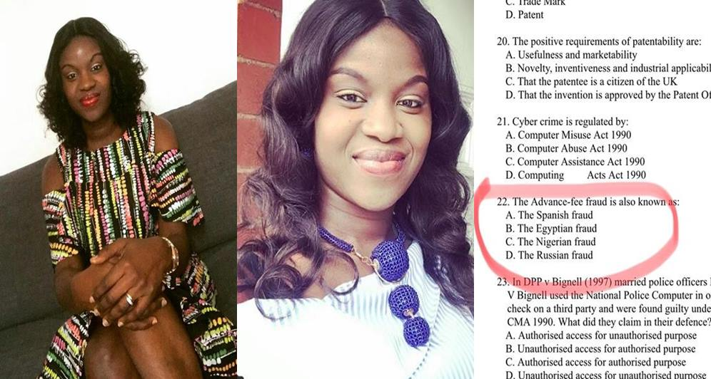 Yahoo Yahoo: Nigerian Lady Schooling In The U.K Shares Shocking Exam Question About '419' In Nigeria