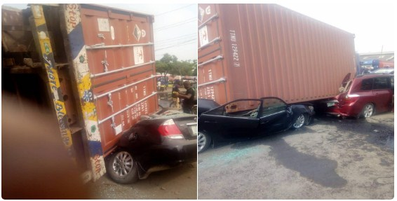 Fallen Container Destroys Several Cars Along Tin Can Island Port In Apapa (Pics)