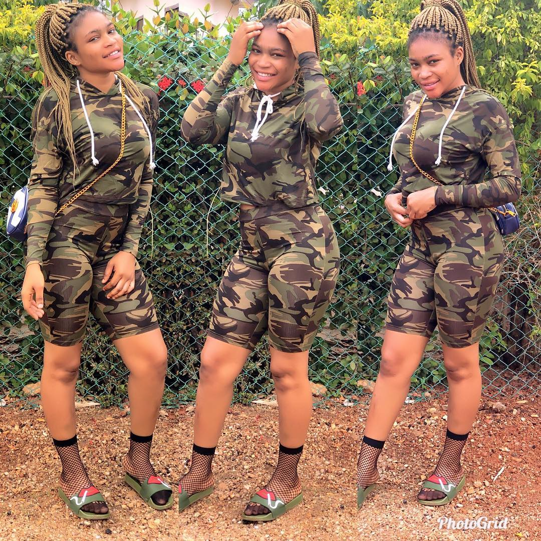 Instagram Slay Queen Sizzles In Camouflage Tight Dress