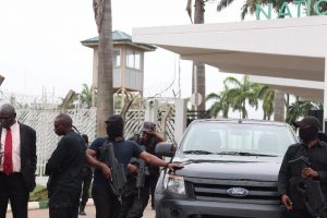 Lawmaker Boma Goodhead Confronts Masked DSS Men Blocking NASS Gate (Photos)