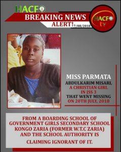 Alarm Raised As Christian Girl Goes Missing From Boarding School In Kaduna (Photo)