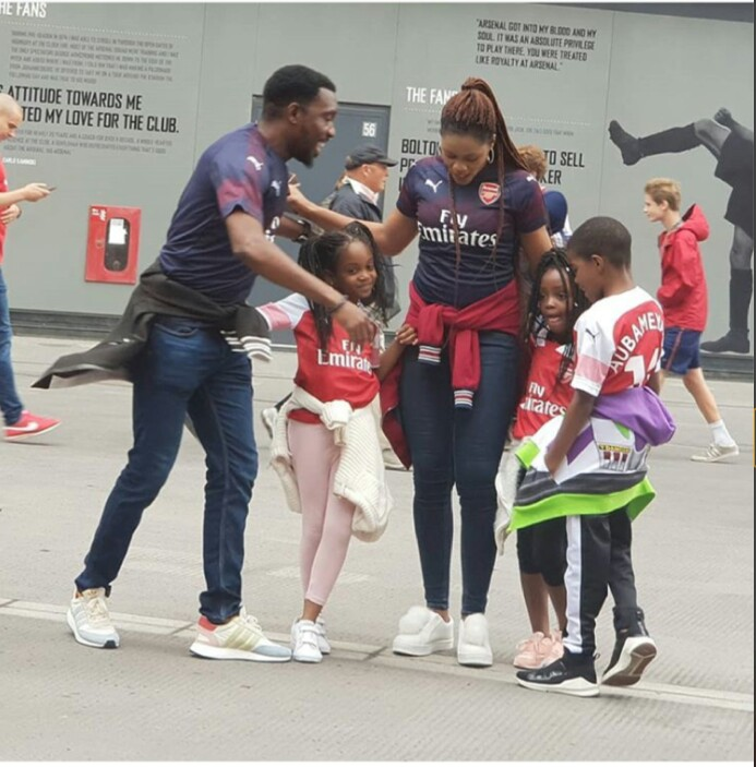 Singer Timi Dakolo, His Spouse And Their three Children Pictured At Arsenal's Emirates Stadium