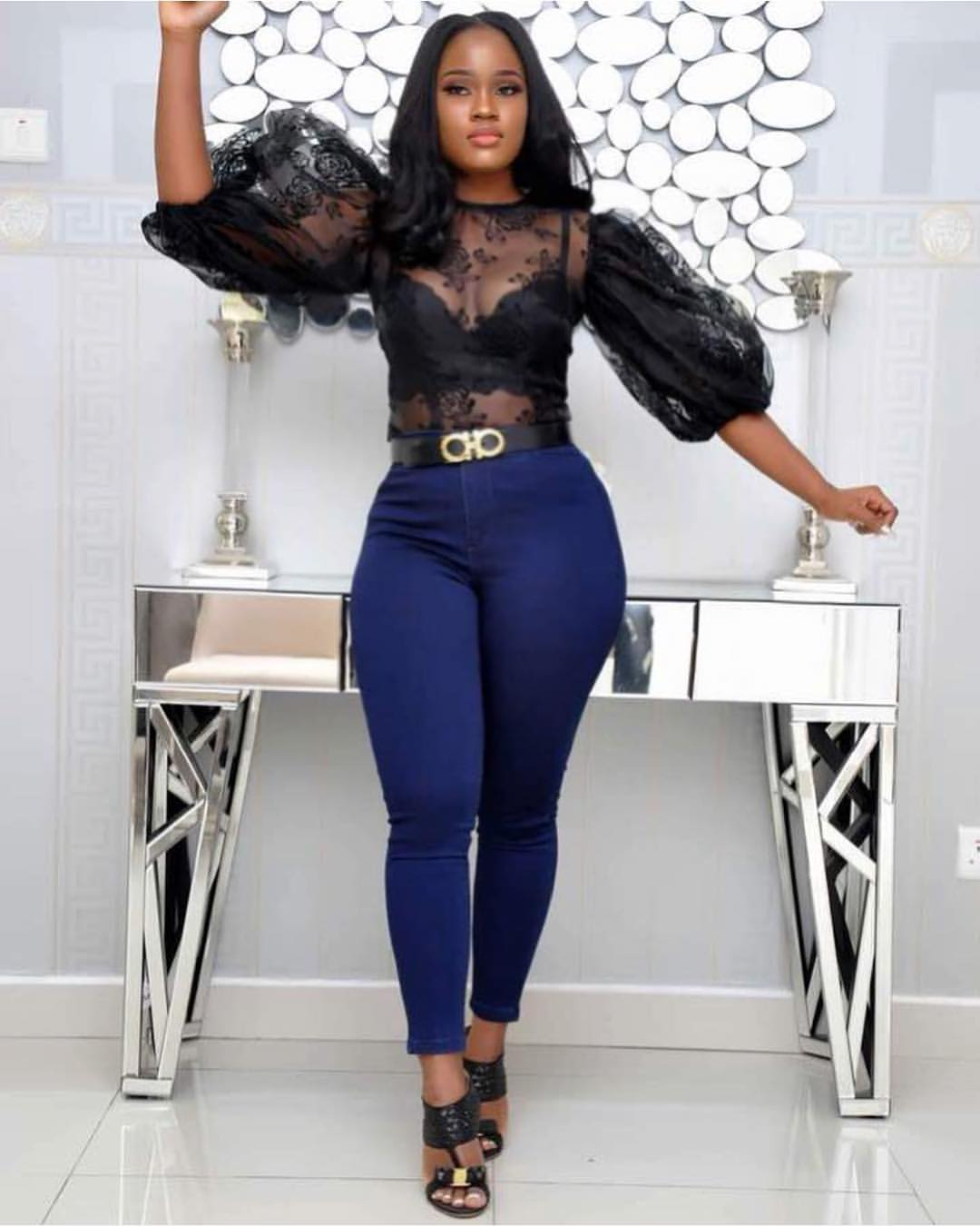 BBNaija's Cee-C Sexy In Figure-Hugging Jeans And See-Through Top