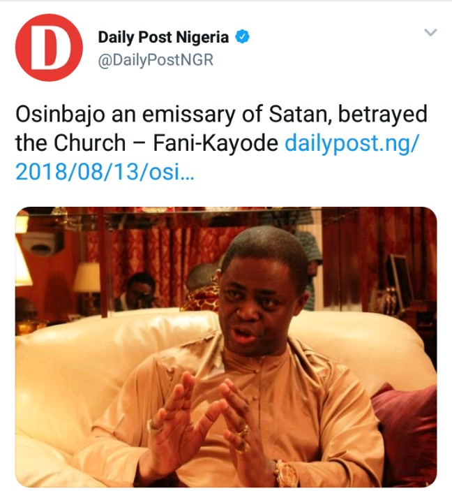 Church Of Devil Replies Fani-kayode's Accusation Of Osinbajo
