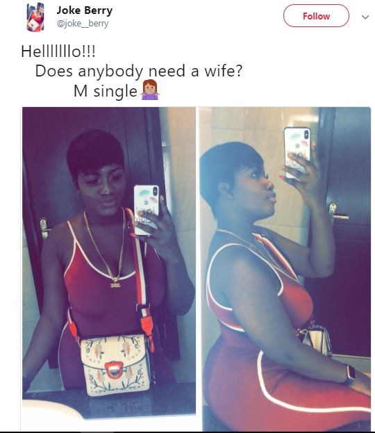 'Does Anyone Want A Spouse? I'm Single' – Fairly Woman Tweets With Her Cute Images