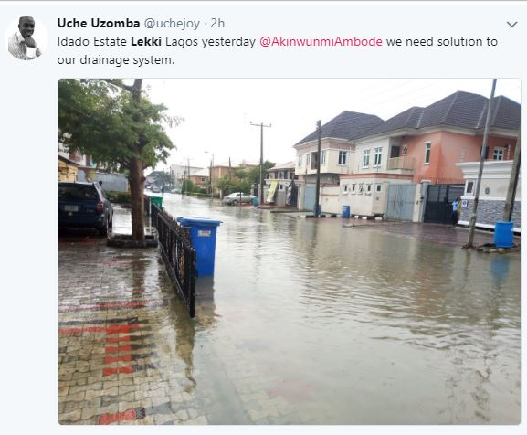 Residents Cry Out As Flood Takes Over Houses In Lekki After Heavy Rainfall (Photos)