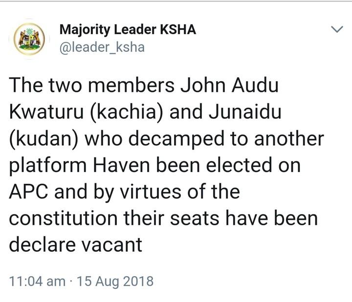 Kaduna State Speaker Declares Seats Of Defectors Vacant