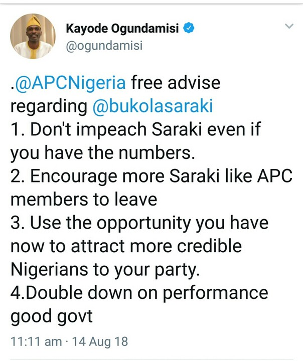 Saraki's Impeachment: Check Out The Advice Kayode Ogundamisi Gave APC