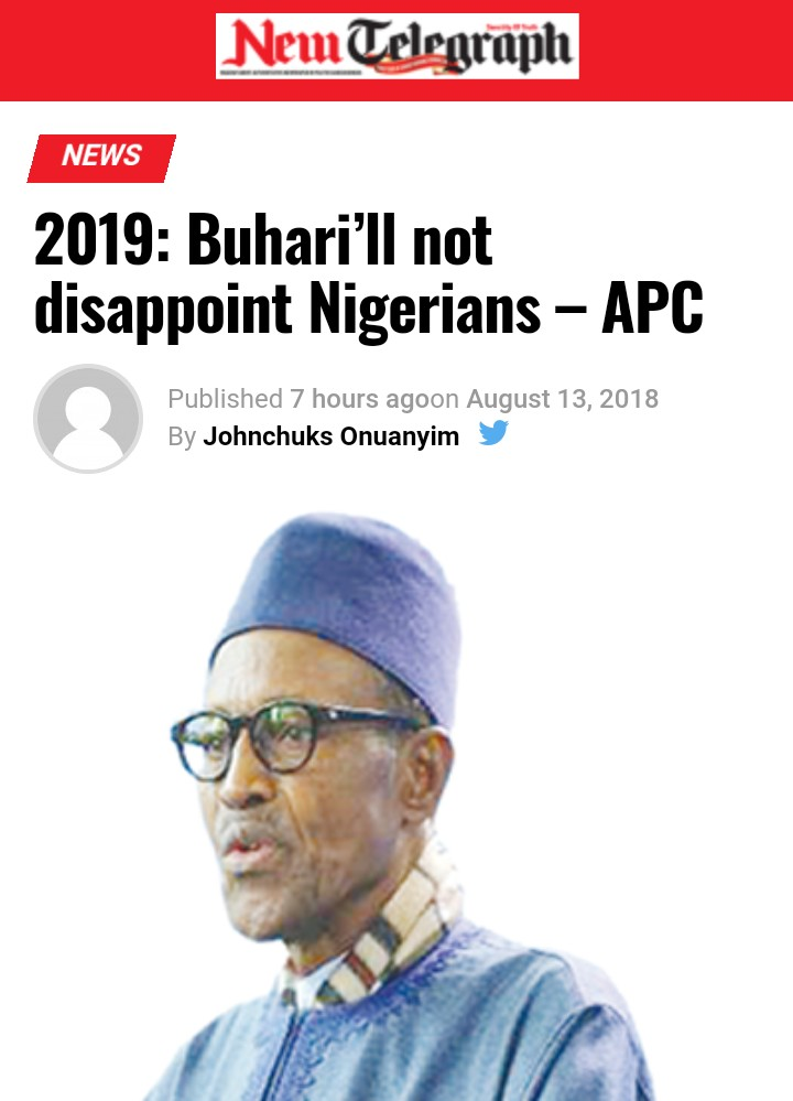 2019: 'President Buhari Will Not Disappoint Nigerians' – APC
