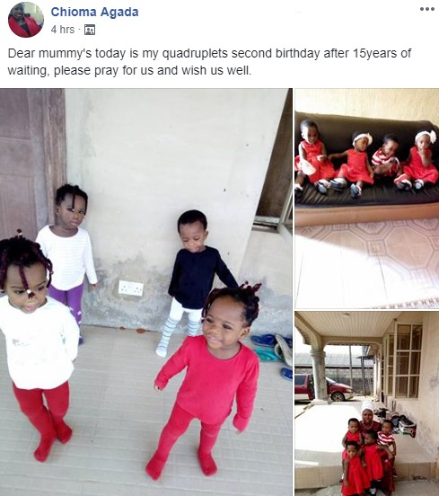 Girl Who Gave Start To Quadruplets After 15 Years, Celebrates Their Birthday (Pictures)