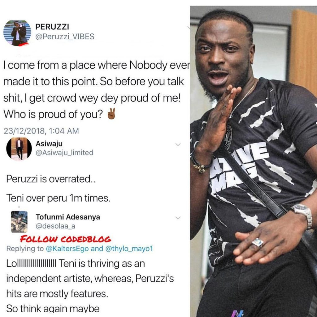 Who Is Proud Of You? Peruzzi To Fan Who Thinks He's