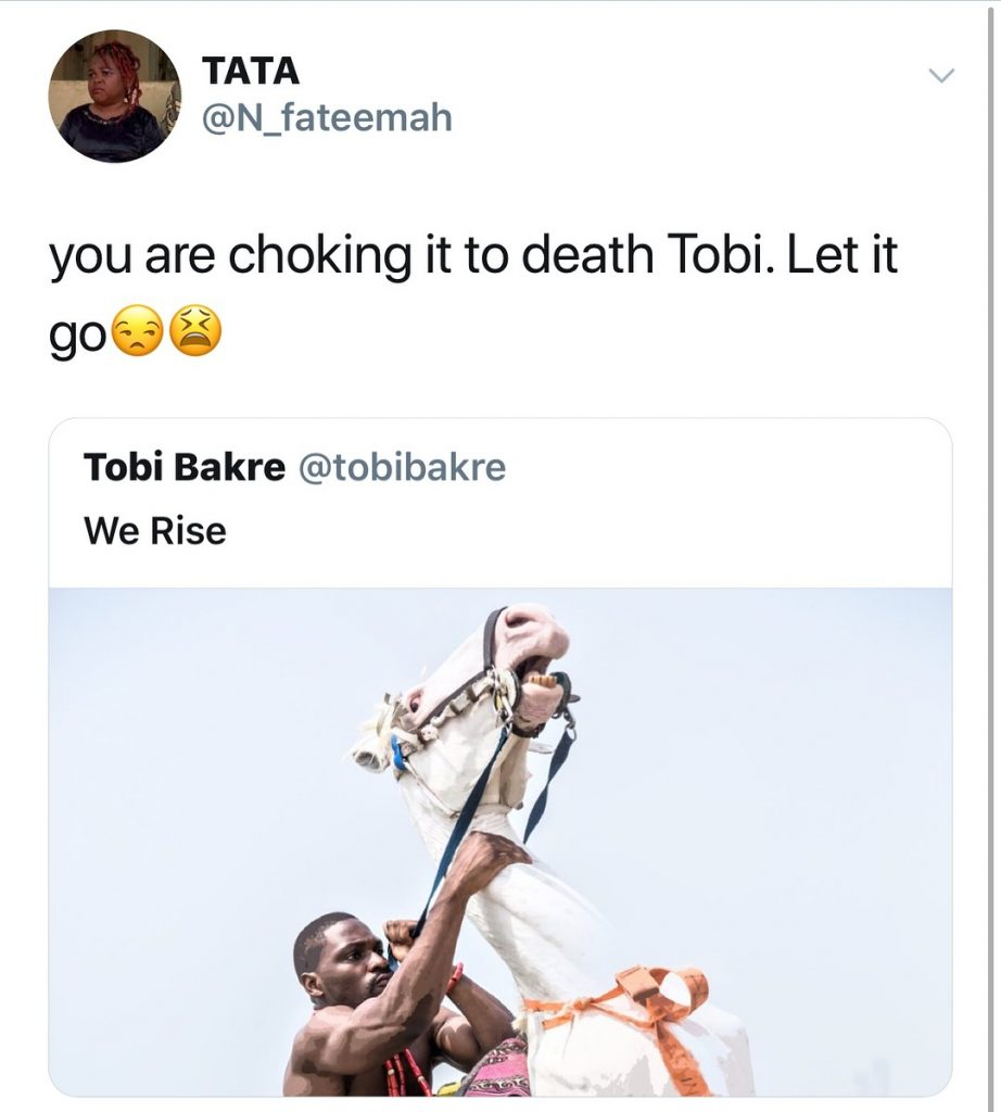 #ViralNow: Fans Blasts BBNaija's Tobi For Chocking A Horse In New Photo Shoot 7