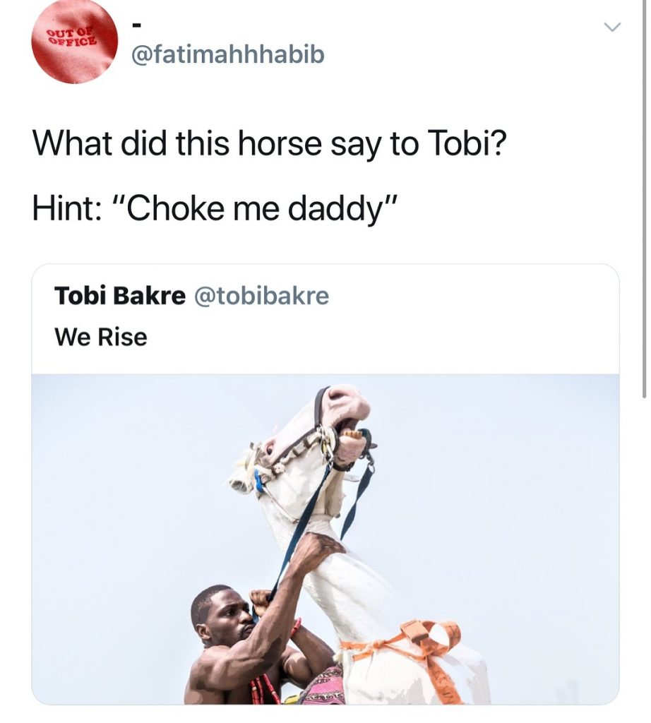 #ViralNow: Fans Blasts BBNaija's Tobi For Chocking A Horse In New Photo Shoot 3
