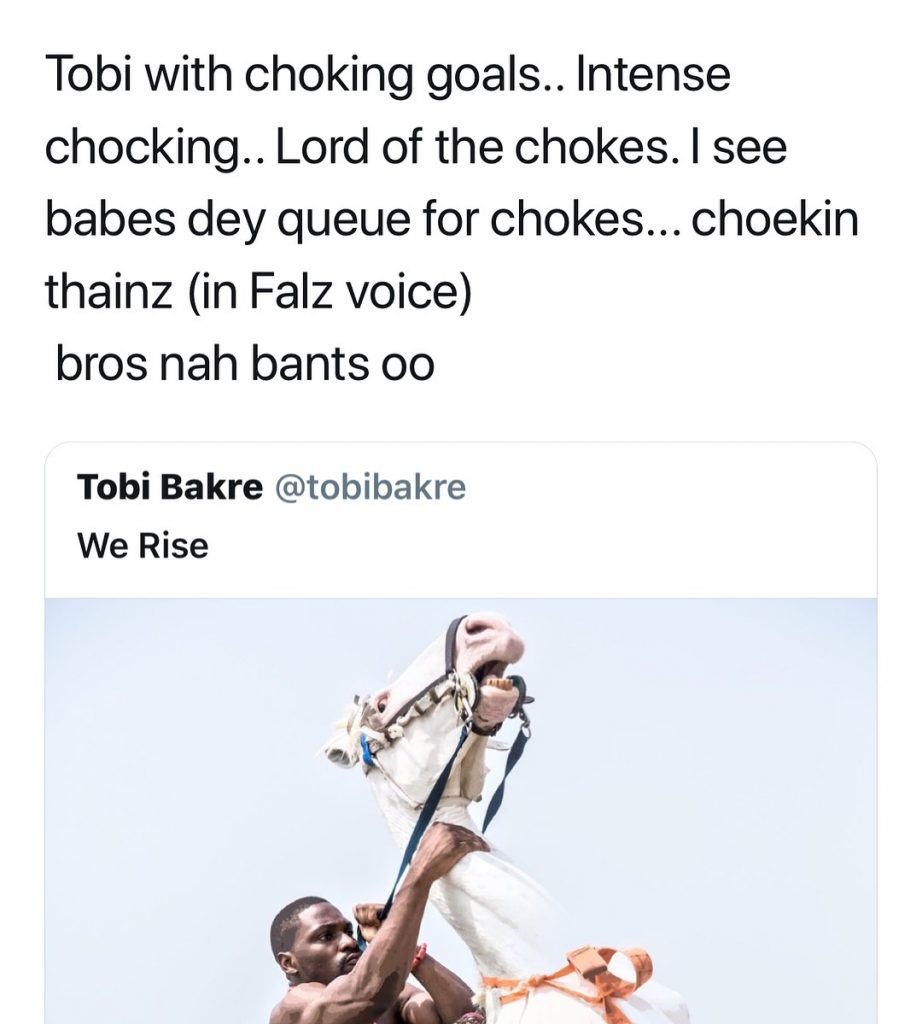 #ViralNow: Fans Blasts BBNaija's Tobi For Chocking A Horse In New Photo Shoot 8