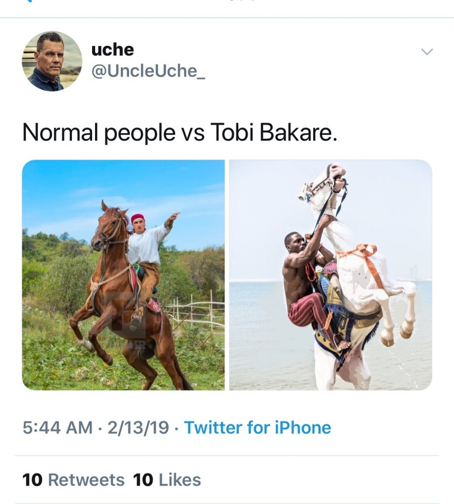 #ViralNow: Fans Blasts BBNaija's Tobi For Chocking A Horse In New Photo Shoot 2