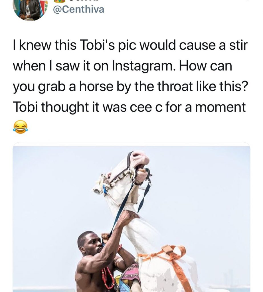 #ViralNow: Fans Blasts BBNaija's Tobi For Chocking A Horse In New Photo Shoot 5