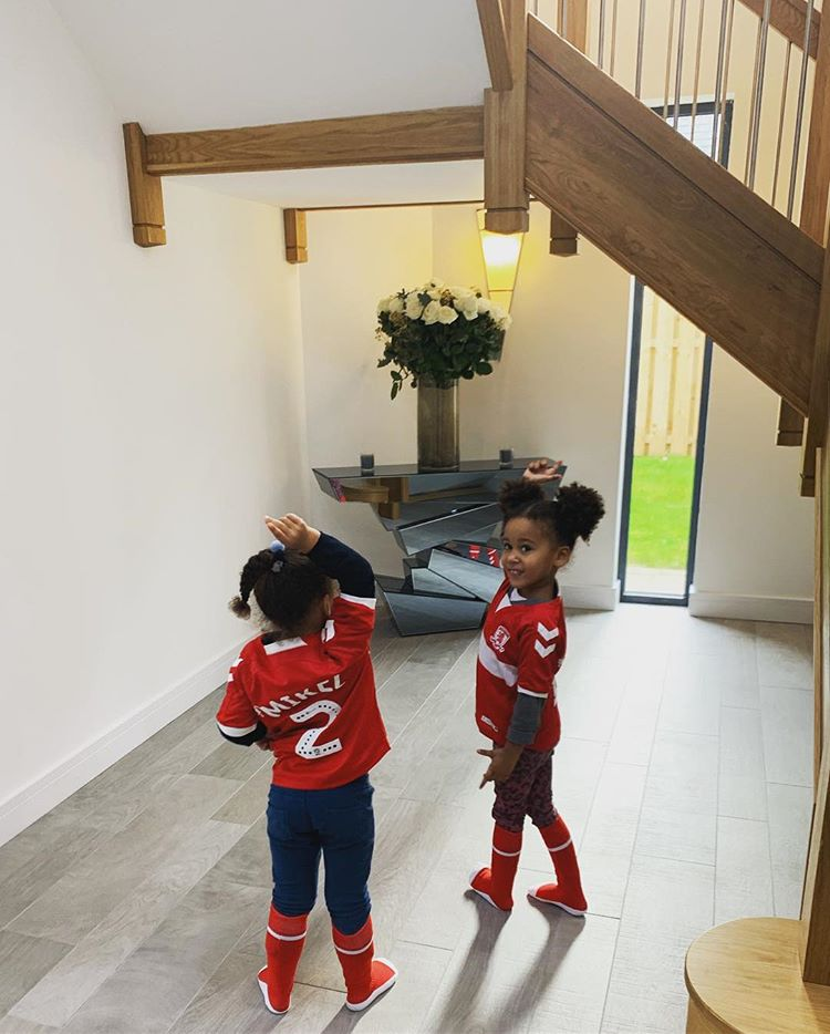 Mikel Obi's Twin Daughters Rocks Dad's New Club Jersey 3