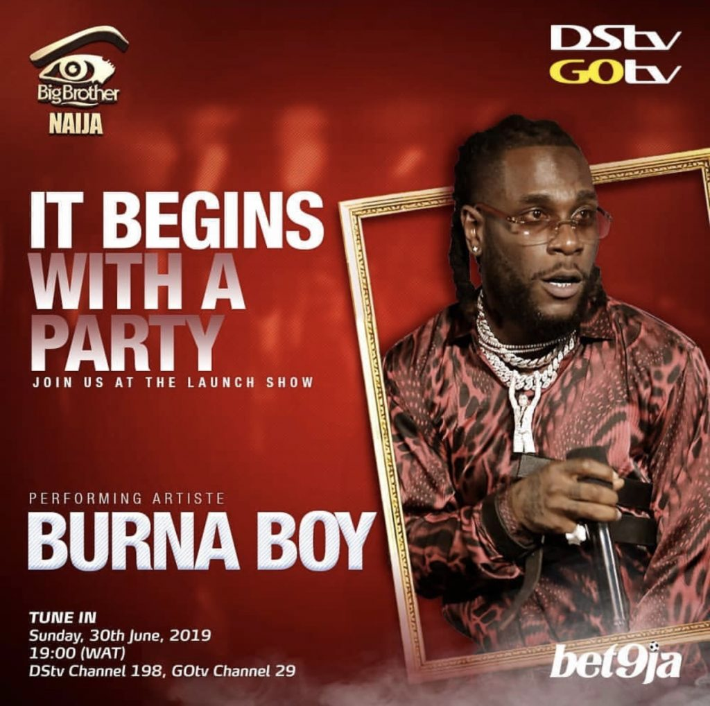 SHOWTIME: Burna Boy, Teni, Zlatan And DJ Neptune Set To Perform At BBNaija 2019 Premiere