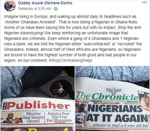 Stop Criminalising Nigerians!! – Ghanaian Tells Fellow Ghanaians