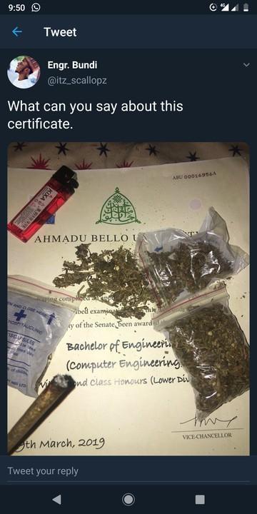 Recent ABU Zaria Graduate Uses Certificate To Smoke Weed (Photo)
